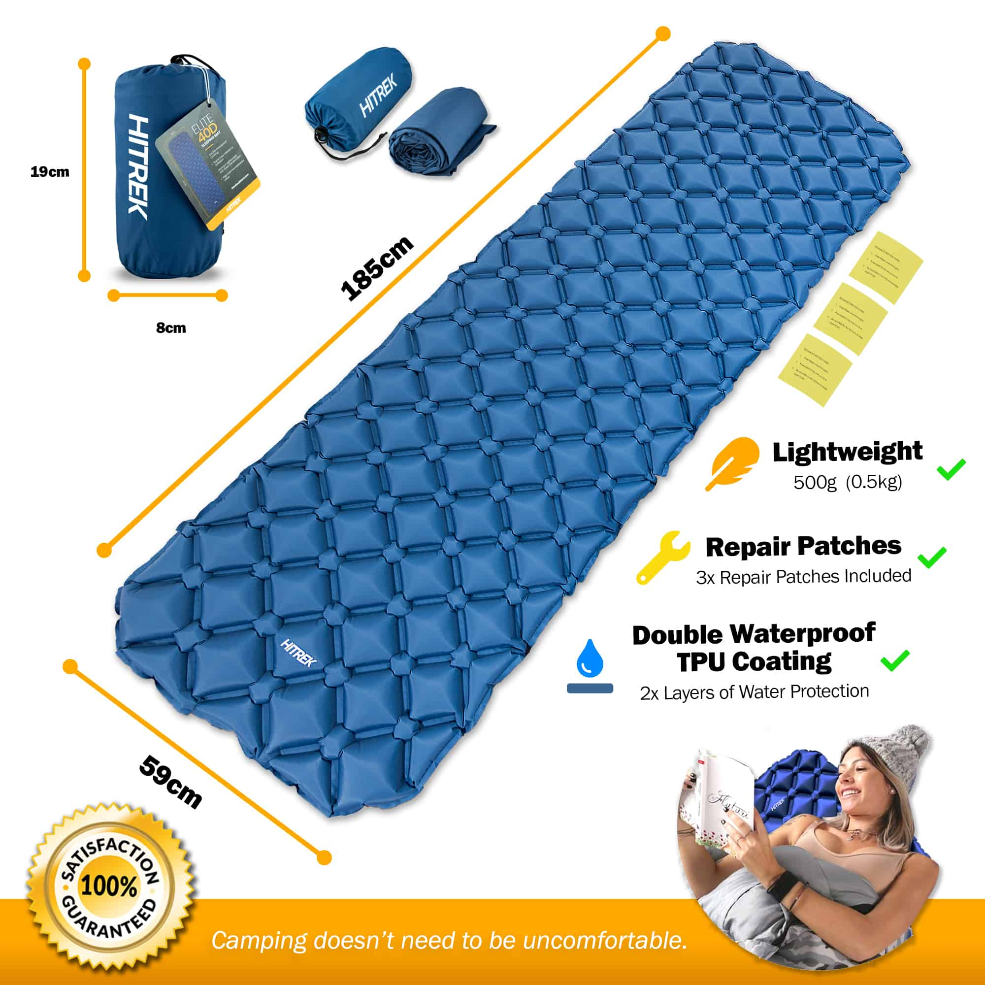 Sleeping Mat Ultralight Inflatable Camping Mattress Comfortable Roll Mats Blue